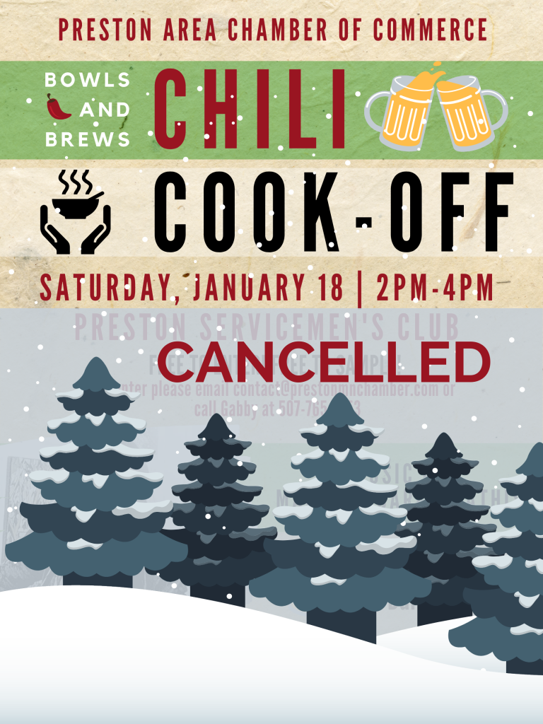 CANCELLED! PACC Bowls and Brews - Chili Cook-Off Contest @ Preston Servicemen's Club | Preston | Minnesota | United States