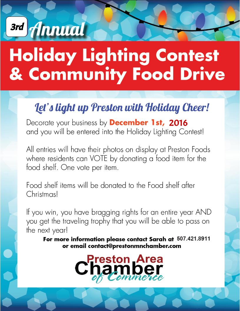 3rd Annual Holiday Lighting Contest & Community Food Drive @ Preston | Minnesota | United States