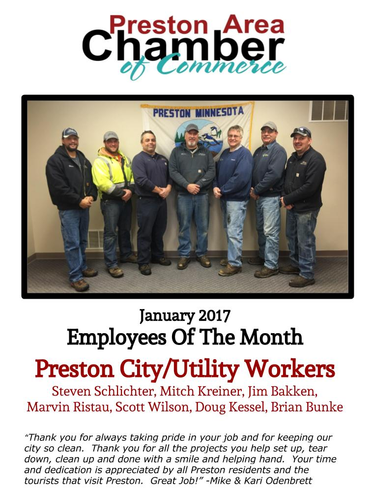 Preston Chamber and Tourism - Preston Employee of the Month - Preston City and Utility Workers - January 2017