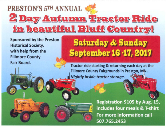 5th Annual Bluff Country Autumn Tractor Ride @ Fillmore County Fairgrounds