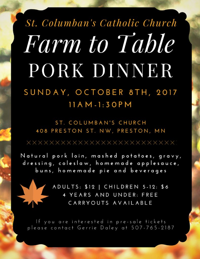 St. Columban's Catholic Church Pork Dinner @ St. Columban's Catholic Church