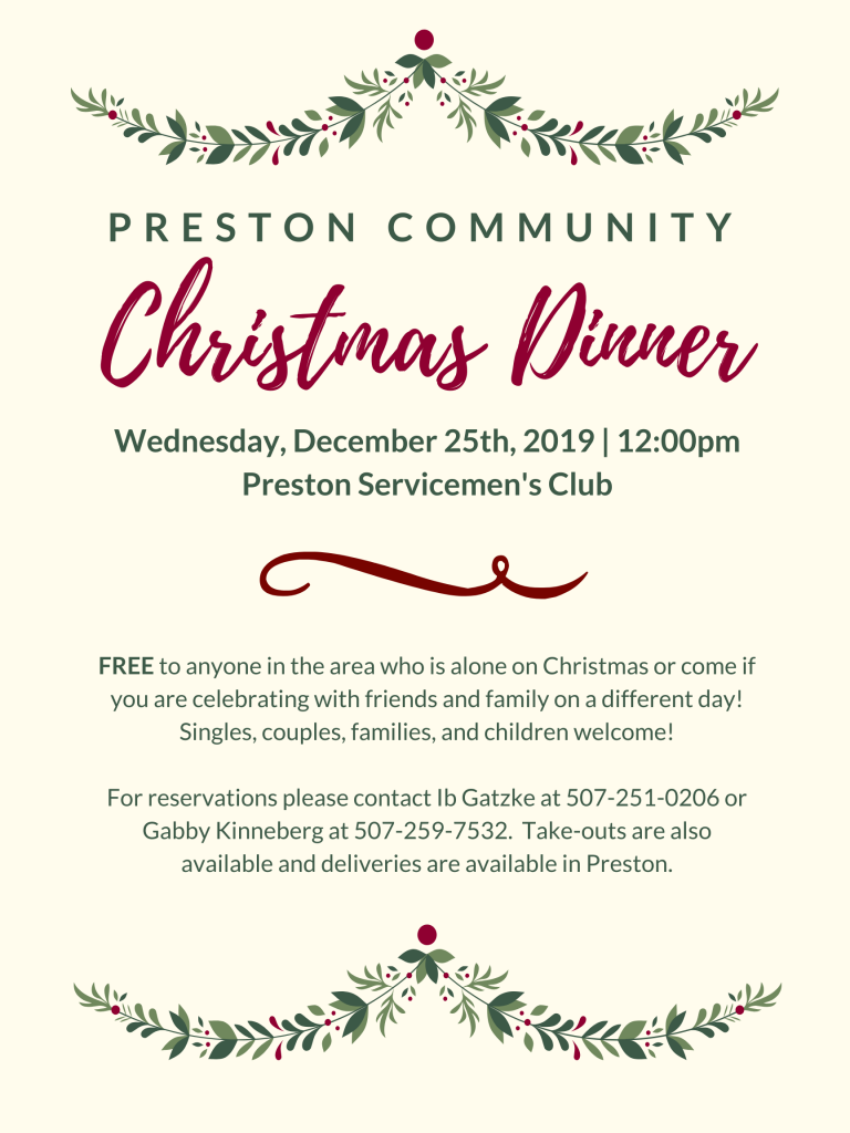 Preston Community Christmas Dinner @ Preston Servicemen's Club