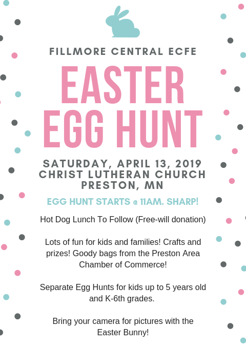 Fillmore Central ECFE Easter Egg Hunt @ Christ Lutheran Church, Preston MN