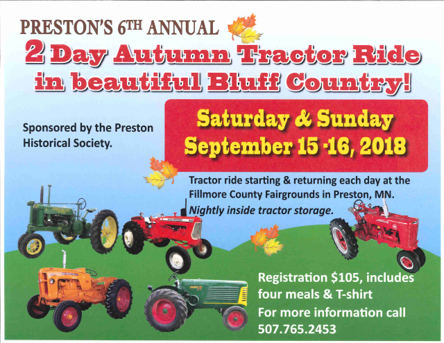 6th Annual Bluff Country Autumn Tractor Ride @ Fillmore County Fairgrounds