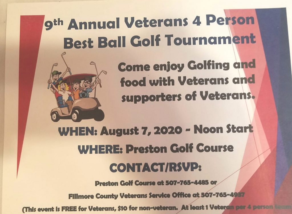 Annual Veterans Fun Day Golf Tournament @ Preston Golf Course