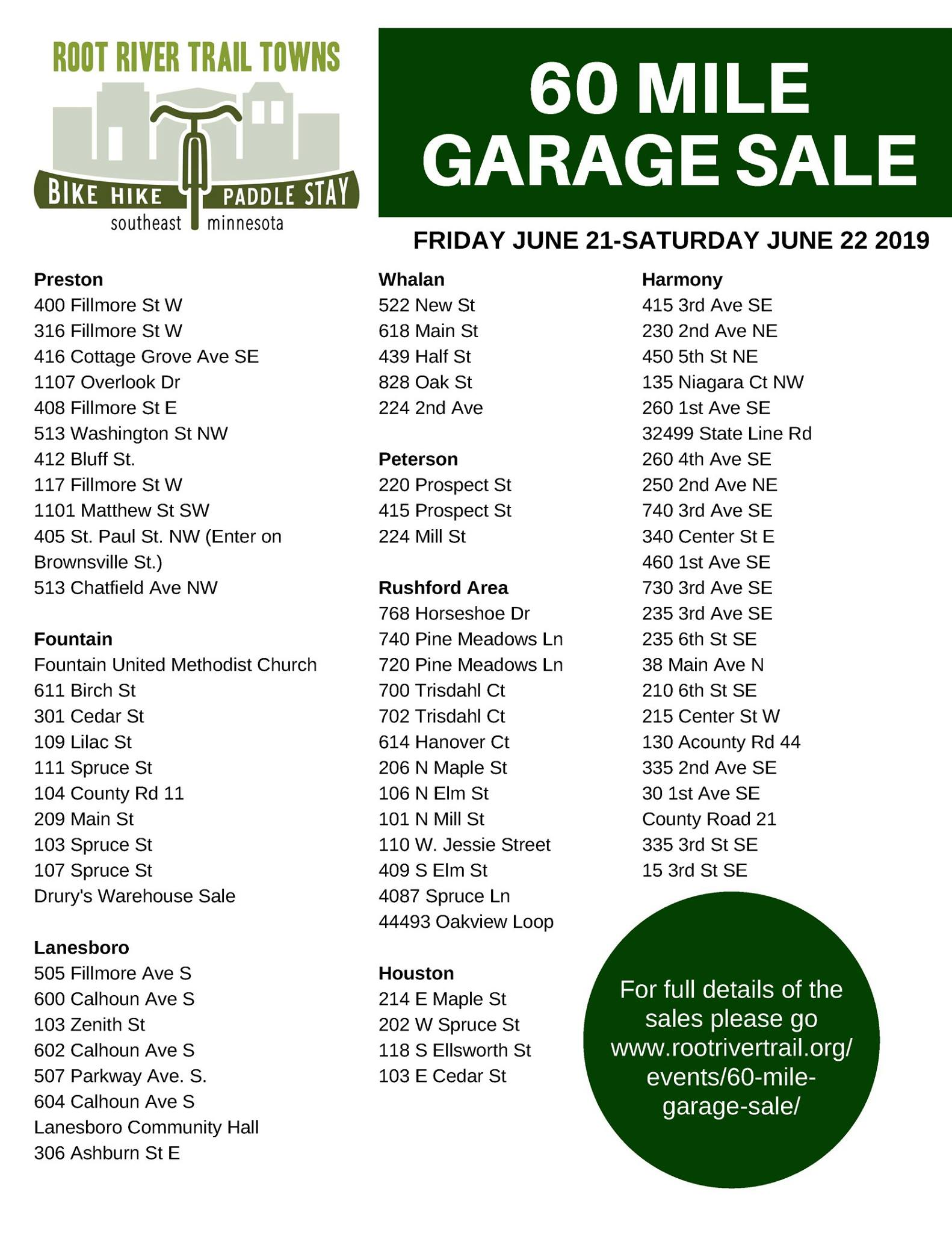 Root River Trail Towns 60-Mile Garage Sale