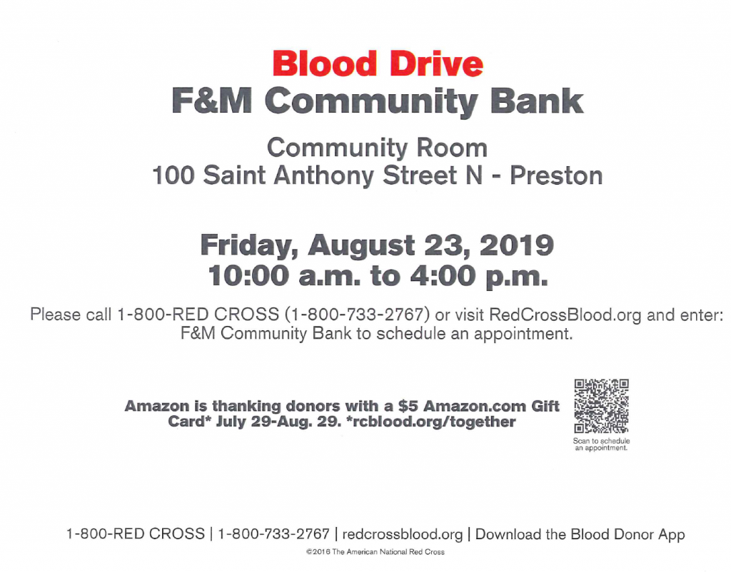 American Red Cross Blood Drive @ F&M Community Bank Community Room
