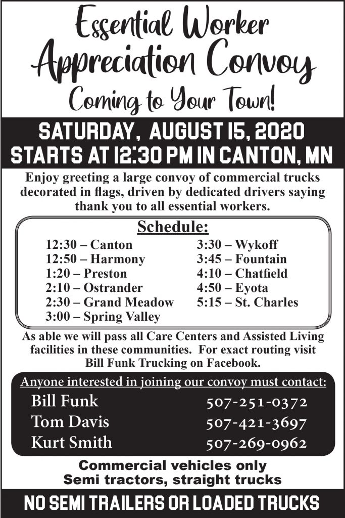 Essential Worker Appreciation Convoy @ Fillmore County Towns