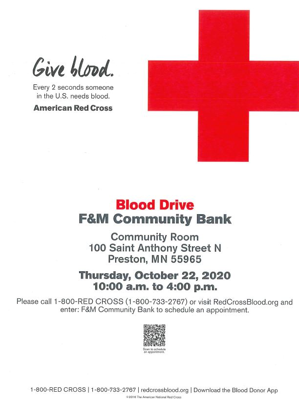 American Red Cross Blood Drive @ F&M Community Bank Community Room