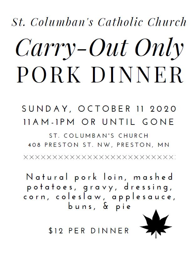 St. Columban's Catholic Church Carry-Out Only Pork Dinner @ St. Columban's Church