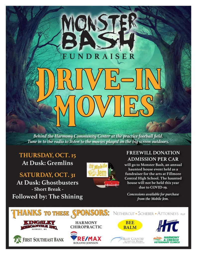 Monster Bash Drive-In Movies @ Harmony Community Center